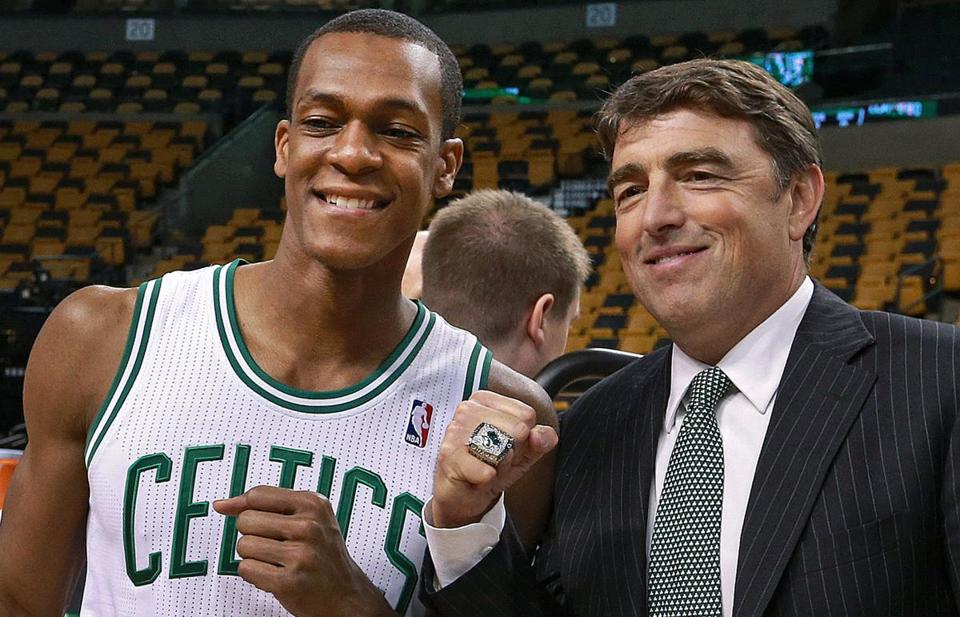"""I think we're going to be better this year, I do,"" Wyc Grousbeck (right) said Friday."